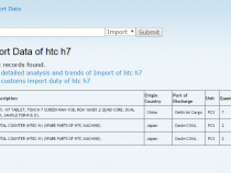 HTC H7 tablet import details on Zauba