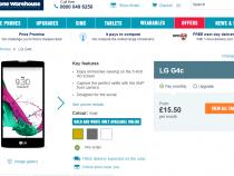 LG G4c pre-order page on Carphone Warehouse UK