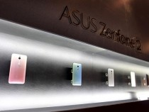 ASUSTeK's new product Zenfone 2 smartphones are displayed during a news conference as part of a media...