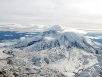 A Plume Of Condensation Rises From Mount St. Helens