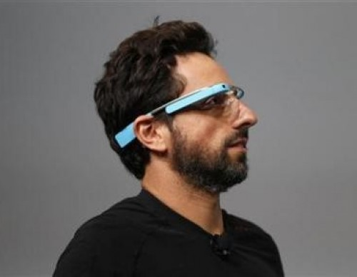 Sergey Brin, CEO and co-founder of Google, wears a Google Glass during a product demonstration during Google I/O 2012 at Moscone Center in San Francisco, California June 27, 2012.