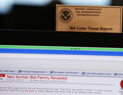 A work station is pictured at the U.S. Department of Homeland Security's National Cybersecurity & Communications Integration Center (NCCIC) located just outside Washington in Arlington, Virginia September 24, 2010.