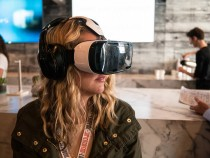 Woman Using a Samsung VR Headset at SXSW