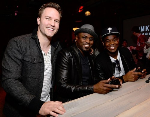 Actors Scott Porter, Wayne Brady and Dexter Darden attend the Mortal Kombat X Tournament at The Microsoft Lounge on April 13, 2015 in Venice, California.