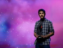 ello Games, Sean Murray demonstrates 'No Man's Sky' during the Sony E3 press conference at the L.A. Memorial Sports Arena on June 15, 2015 in Los Angeles, California.