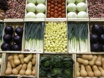 Vegetables, including leeks, tomatoes, turnips, cabbages and cucumbers presented in wooden crates