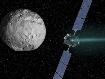 Probe approaching asteroid