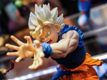 TURIN, ITALY - 2015/04/18: Action Figure of Goku by Dragon Ball. Thousands of visitors to the twenty-first edition of Turin Comics, the fair that brings together fans of comics, cartoons, video games and the inevitable cosplayers. (Photo by Elena Aquila/P