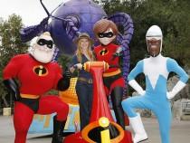 Holly Hunter Meets The Incredibles At Disneyland