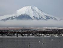 Scenic Views Of Snow Capped Mt. Fuji