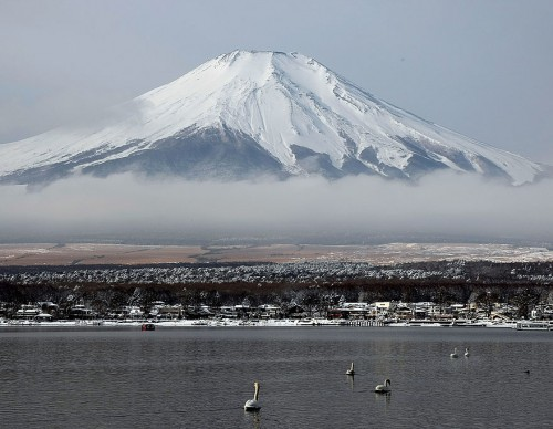 Scenic Views Of Snow Capped Mt. Fuji