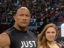WWe The Rock Ronda Rousey Interrupts & Destroys Triple H & Stephanie McMahon Wrestlemania 31 2015