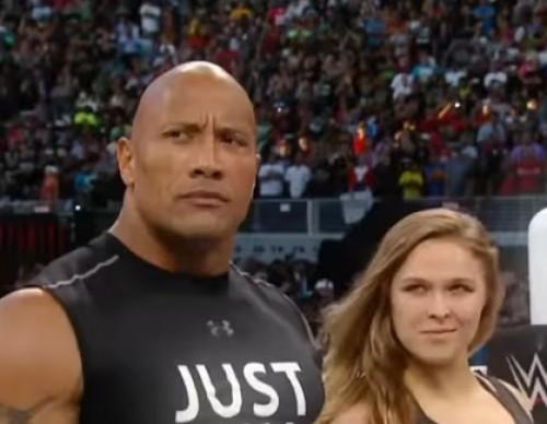 WWe The Rock Ronda Rousey Interrupts & Destroys Triple H & Stephanie McMahon Wrestlemania 31 2015