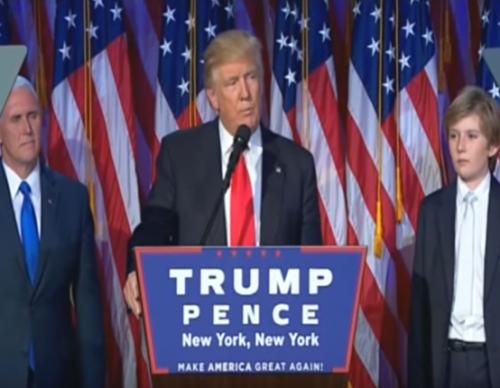 Barron Trump struggles to stay awake during Dad's victory speech