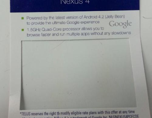Leaked TELUS Internal Document Of Nexus 4