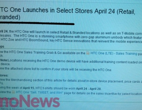 T-Mobile Leaked Memo HTC One