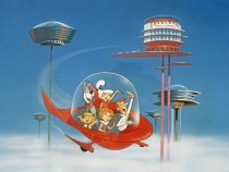 The Jetsons on Board a Flying Car