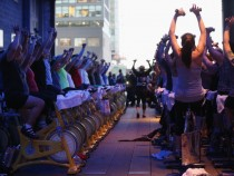 Stationary Bicycles Takeover Manhattan's High Line Park For Charity Group Workout