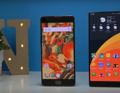 OnePlus 3T (left) and Xiaomi Mi Mix (right)