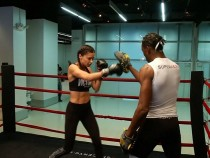 Model Adriana Lima shows off her boxing skills ahead of the Victoria's Secret fashion show