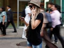 Pedestrian using cellphones