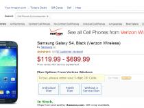 Verizon Samsung Galaxy S4 on Amazon