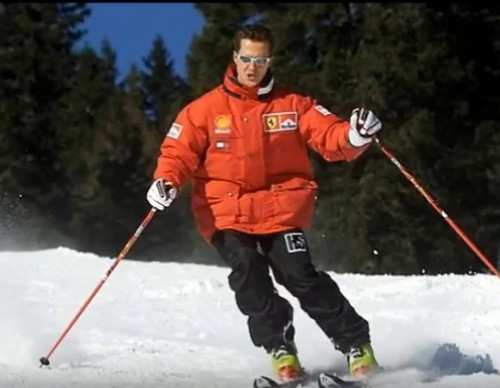 Michael Schumacher skiing prior to the accident.