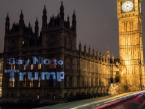 Protest Group Project 'Say No ToTrump' Onto Parliament