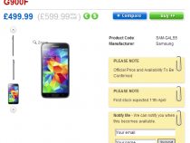 Samsung Galaxy S5 pre-order page on Clove UK