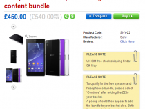 Sony Xperia Z2 pre-order page on Clove UK