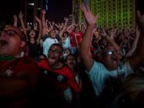 Crowds Gather To Watch Brazil v Germany Gold Medal Men's Football Match