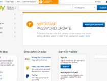 eBay homepage recommends password update