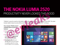 T-Mobile Nokia 2520 leaked press material