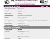 HTC Flounder tablet (Nexus 9) Wi-Fi certification