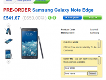 Samsung Galaxy Note Edge pre-order page on Clove UK