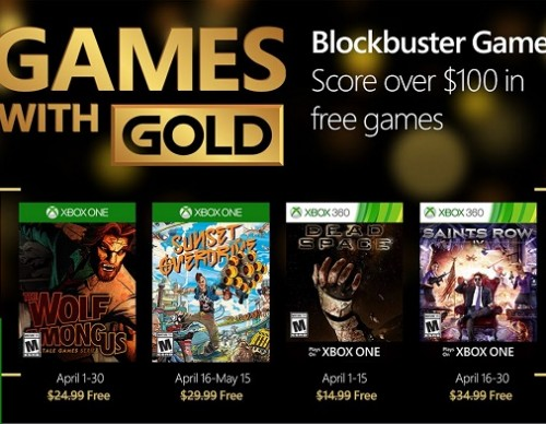 List Of Games For April's Xbox Live With Gold Revealed