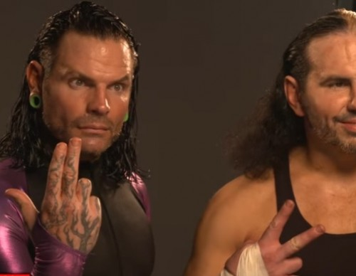 The Hardy Boys get photographed as the Raw Tag Team Champions