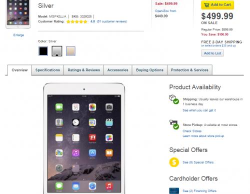 iPad Mini 3 128GB Wi-Fi Best Buy discount ($100 off)