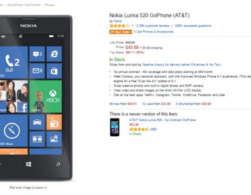 Nokia Lumia 520 on Amazon