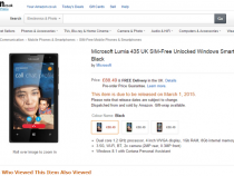 Microsoft Lumia 435 pre-order page on Amazon UK