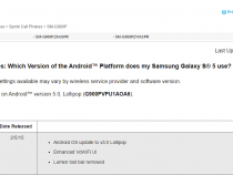 Samsung support page lists Sprint Galaxy S5 with Android 5.0 Lollipop
