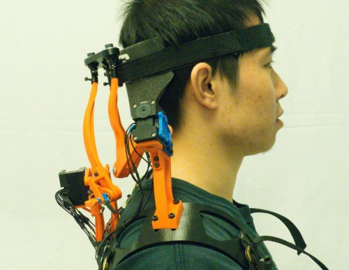 A Study Participant Wearing the Robotic Neck Brace (IMAGE)