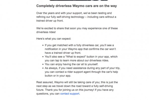 Screenshot of Waymo's Email