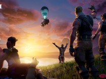 Fortnite characters waving goodbye to the Battle Bus