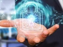 Businessman using digital padlock with data protection 3D render – stock image
