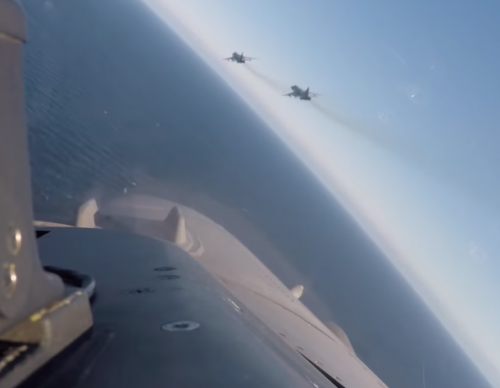 Two Russian Air Force Fighters Spotted Flying Over a US Destroyer were Intercepted by a Belgian F-16 Fighter Jet