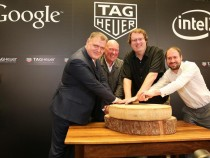Pictured left to right: Guy Sémon, General Manager of TAG Heuer; Jean-Claude Biver, President of the Watch Division LVMH Group and CEO of TAG Heuer, Michael Bell, Corporate Vice President and General Manager of Intel's New Devices Group and David Singleto