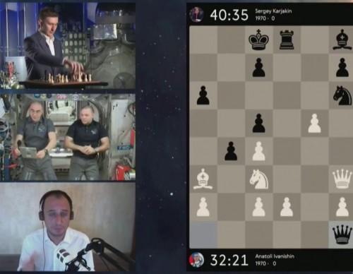 Russian Cosmonauts with former Russian Chess Grandmaster