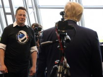 U.S. President Donald Trump and Elon Musk are seen at the Firing Room Four after the launch of a SpaceX Falcon 9 rocket and Crew Dragon spacecraft, from Cape Canaveral