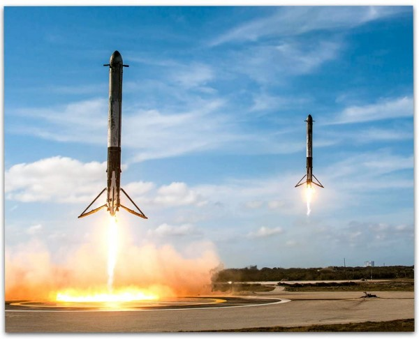 Lone Star Art SpaceX Falcon Heavy Boosters Landing - 11x14 Unframed Print - Great Gift Under $10 for Space Fans, Astronomers, and Astronauts
